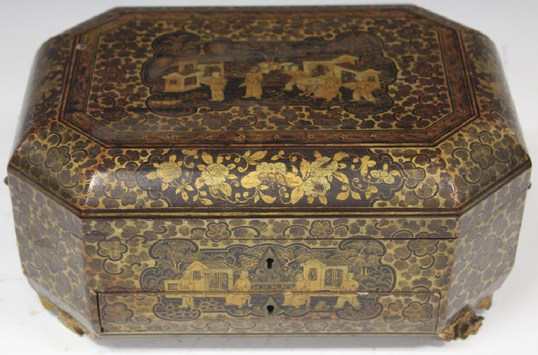 18TH C. CHINESE EXPORT PAINTED DOCUMENT BOX - 4
