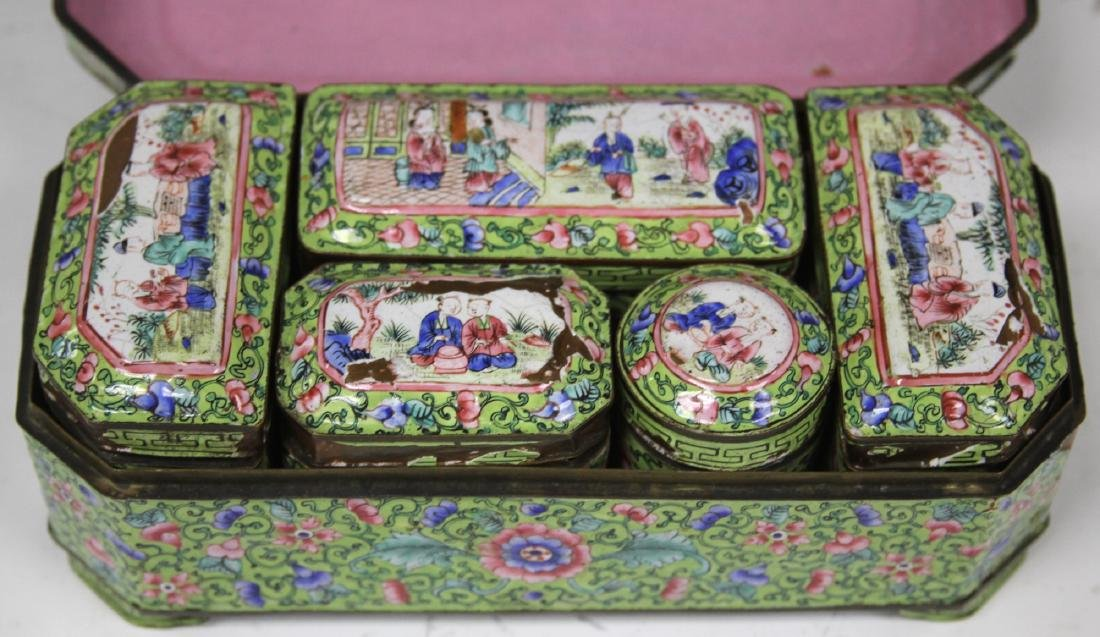 EARLY CHINESE ENAMELED SCHOLAR'S BOXES - 2