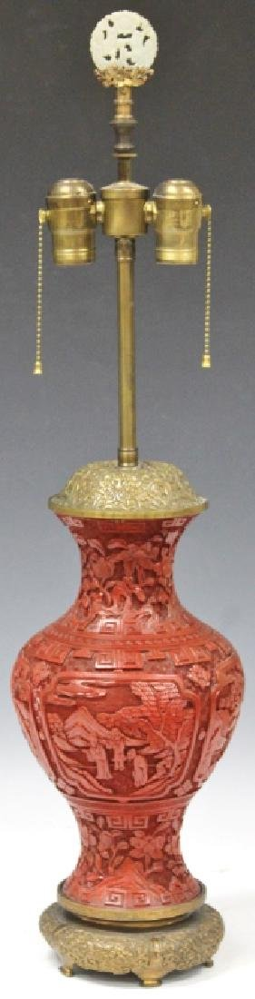 EARLY CHINESE CINNABAR CARVED VASE/LAMP