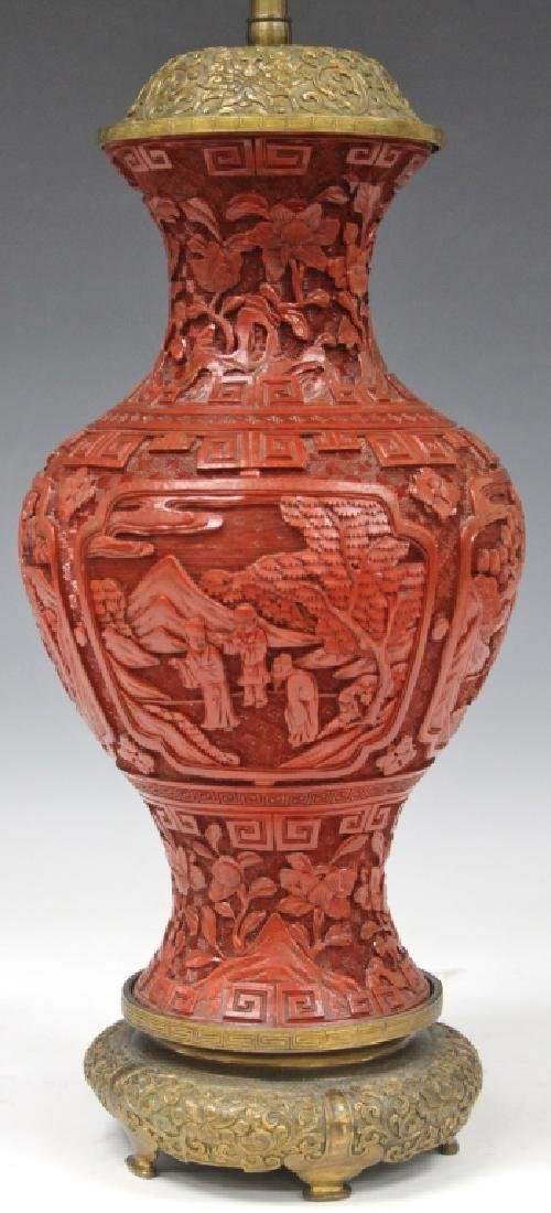 EARLY CHINESE CINNABAR CARVED VASE/LAMP - 2