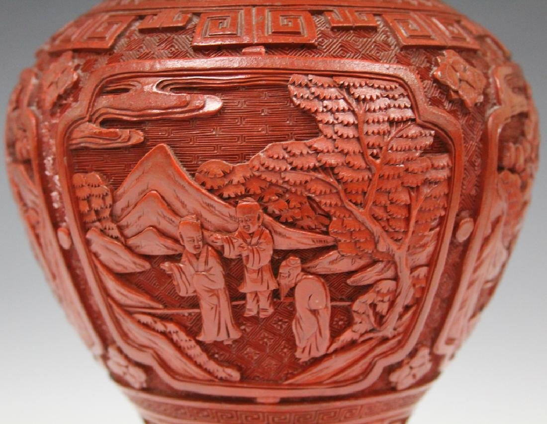 EARLY CHINESE CINNABAR CARVED VASE/LAMP - 3