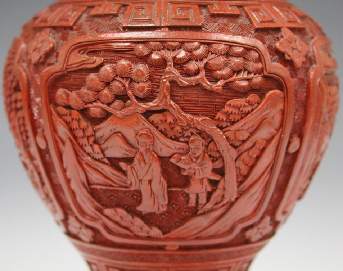 EARLY CHINESE CINNABAR CARVED VASE/LAMP - 4