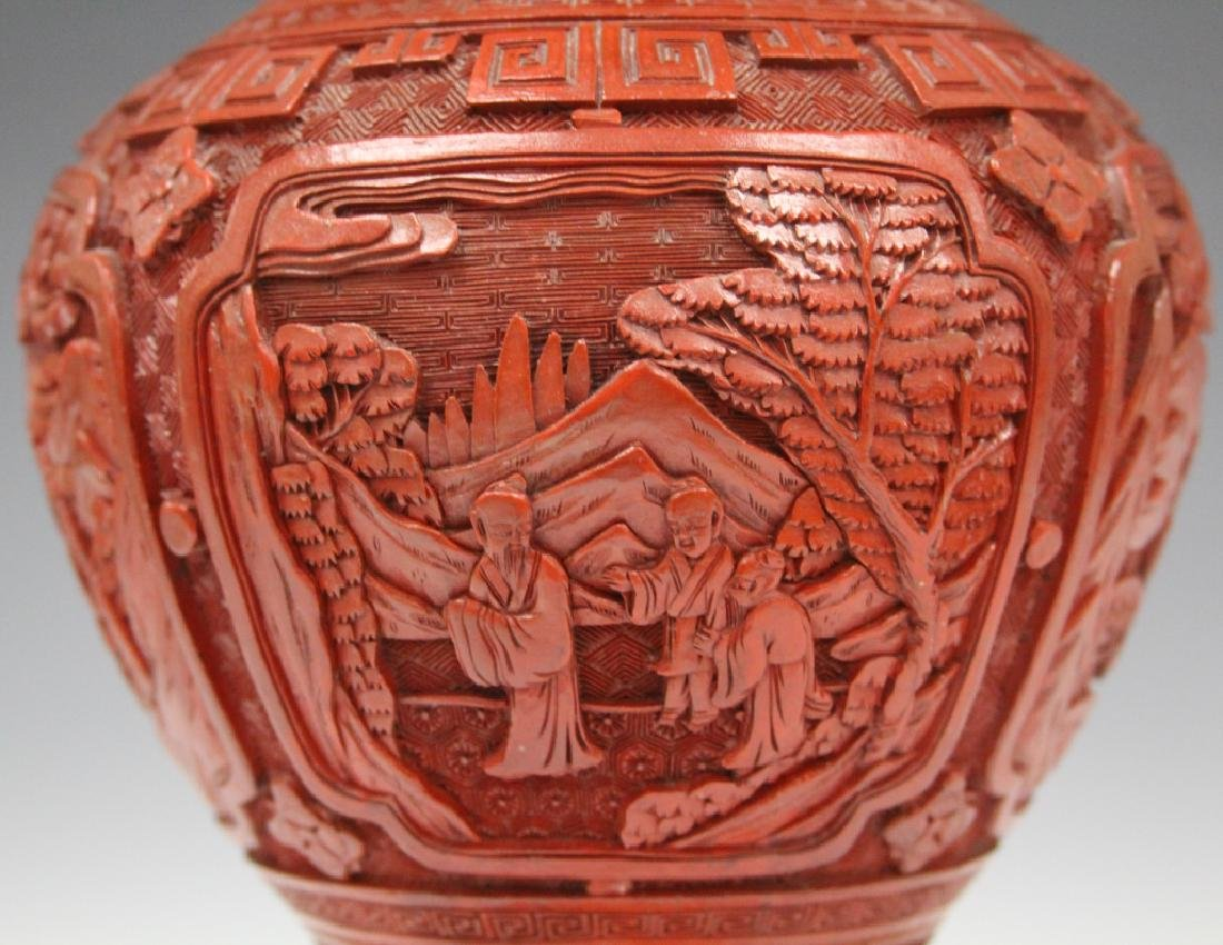 EARLY CHINESE CINNABAR CARVED VASE/LAMP - 5