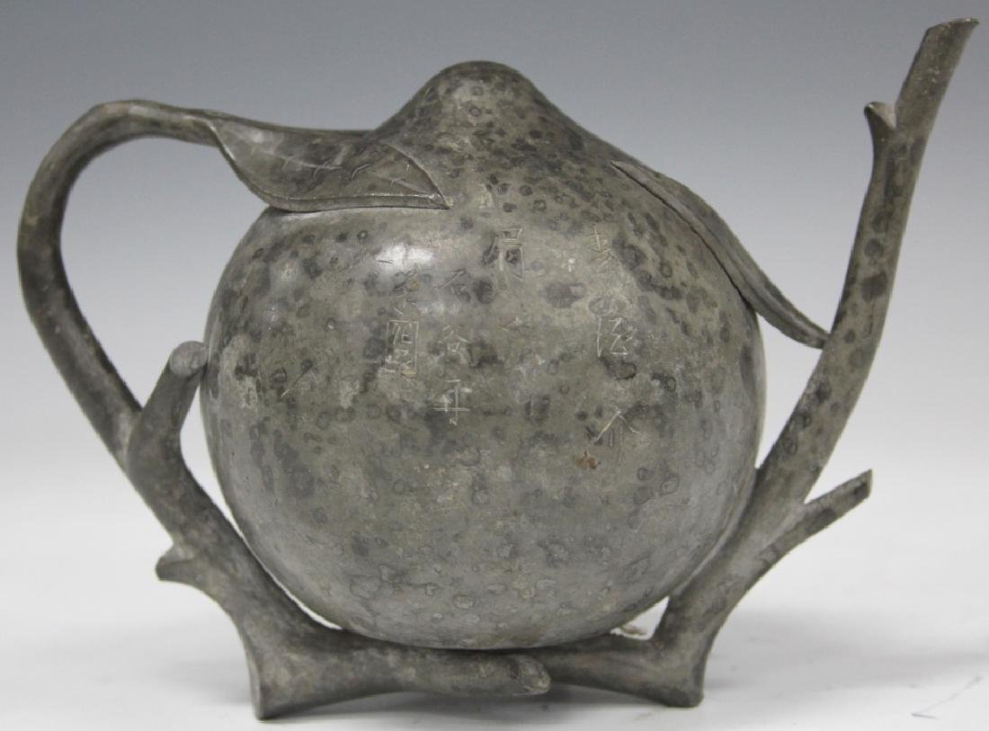 VINTAGE CHINESE PEWTER TEAPOT, SIGNED W/ POEM