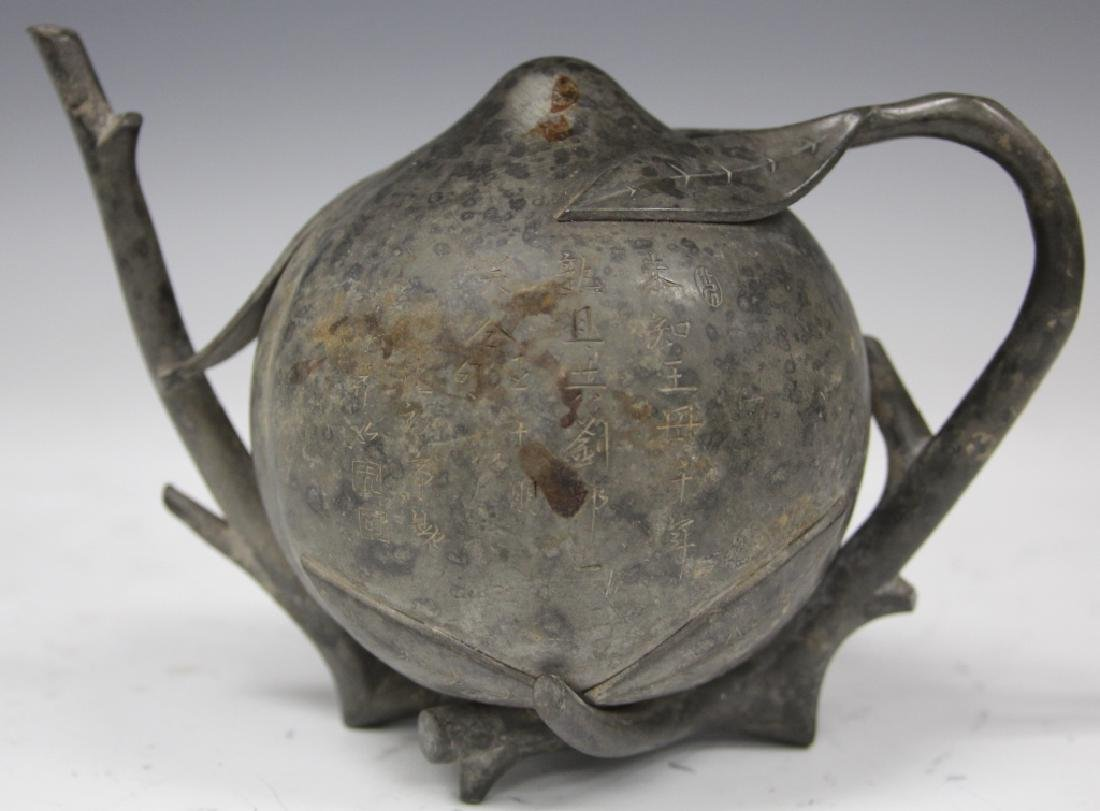 VINTAGE CHINESE PEWTER TEAPOT, SIGNED W/ POEM - 3