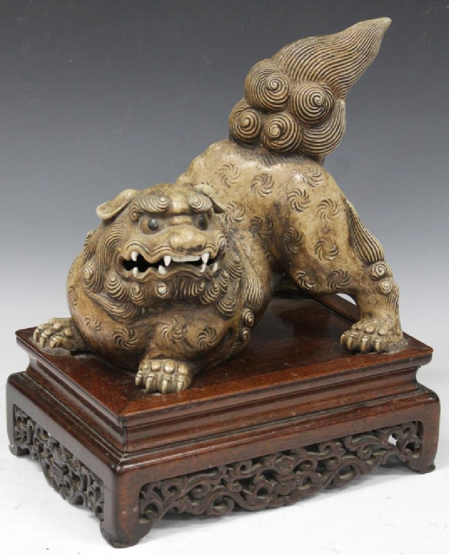 19TH C. CHINESE SCULPTED POTTERY FOO DOG