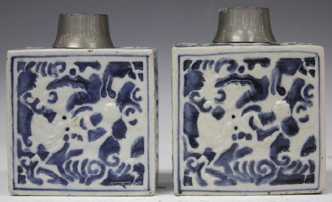 EARLY CHINESE  POTTERY TEA JARS W/ PEWTER TOPS