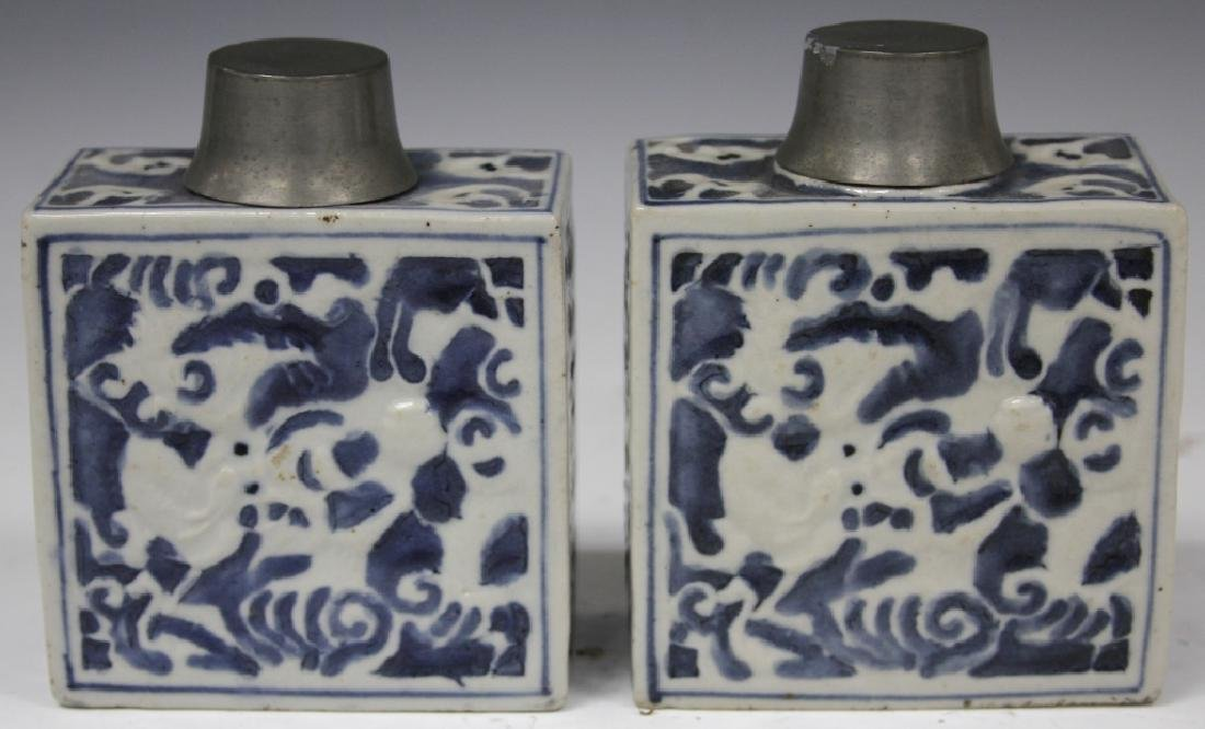 EARLY CHINESE  POTTERY TEA JARS W/ PEWTER TOPS - 2