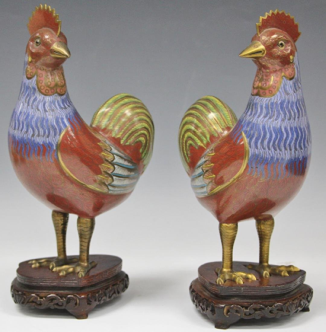 PAIR OF VINTAGE CHINESE CLOISONNE FIGURAL CHICKENS