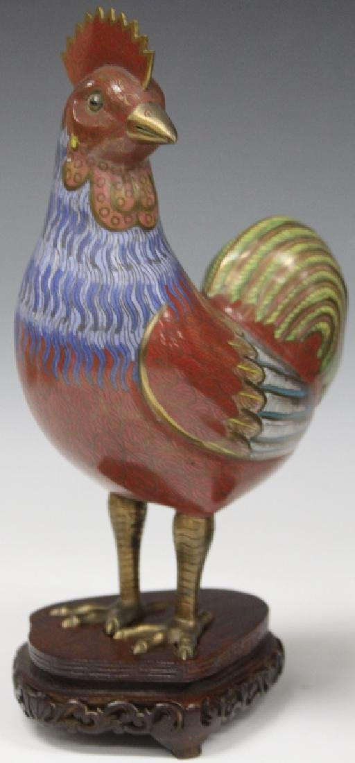 PAIR OF VINTAGE CHINESE CLOISONNE FIGURAL CHICKENS - 2