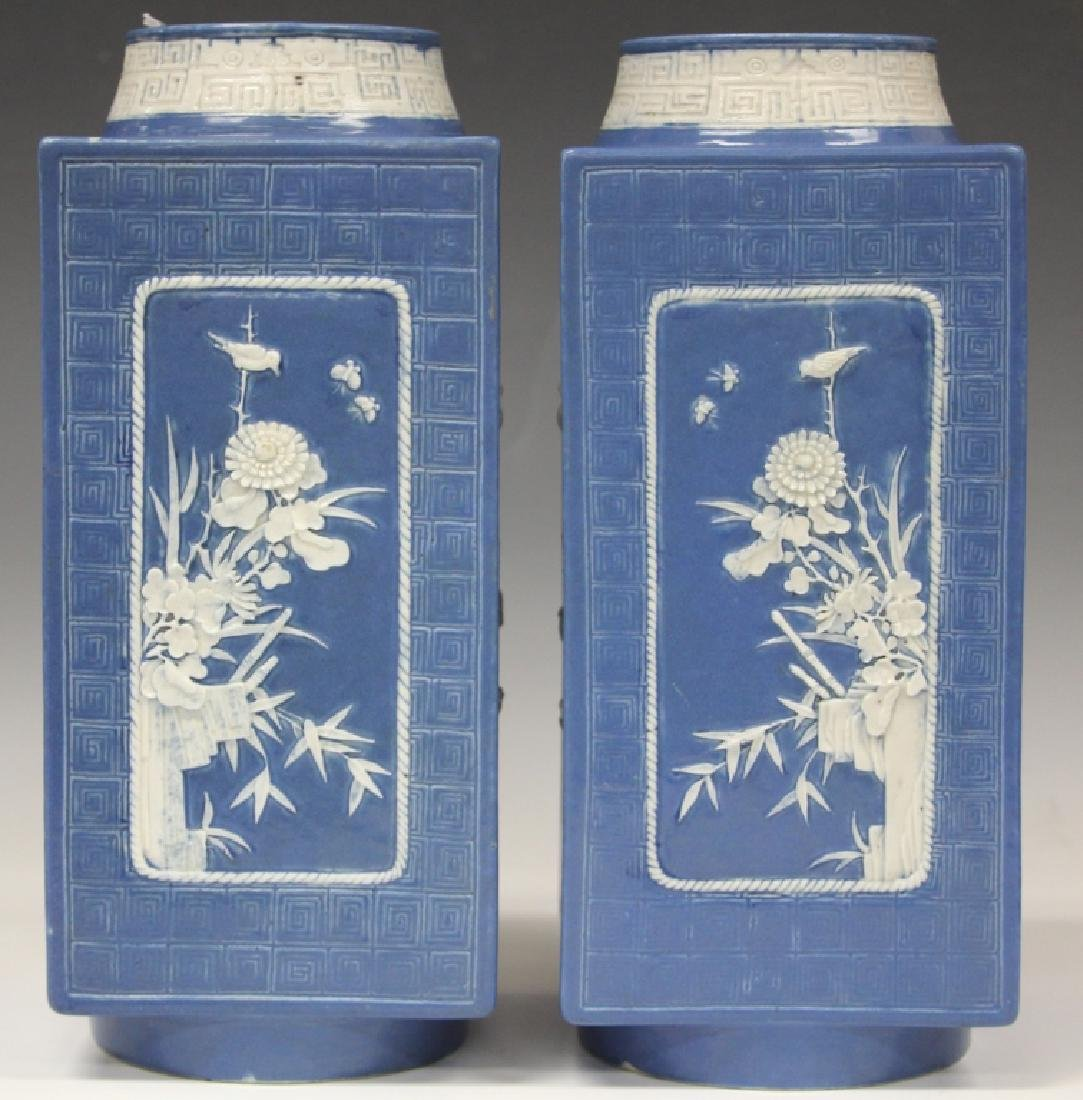 PAIR OF CHINESE CONG SHAPED VASES, QING DYNASTY - 2