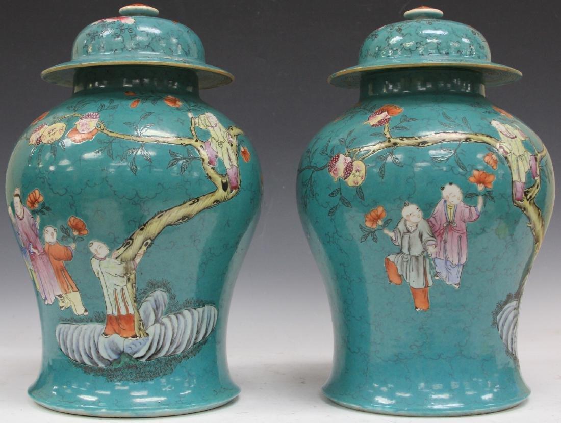 CHINESE FAMILLE VERTE PORCELAIN GINGER JARS