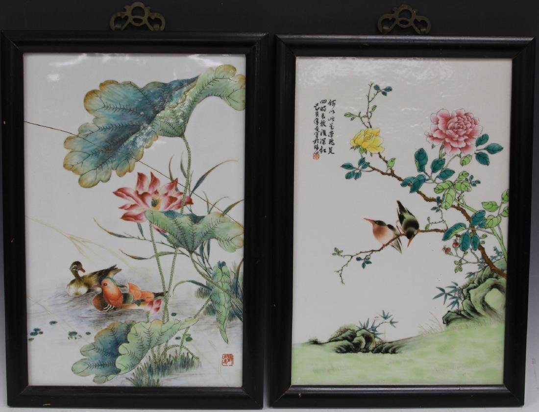 PAIR OF CHINESE REPUBLIC PERIOD PORCELAIN PLAQUES