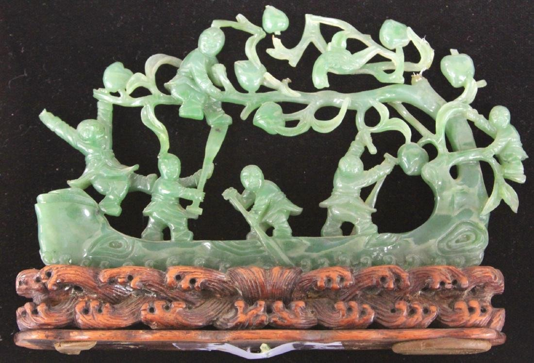 CHINESE JADE CARVING OF BOYS WITH TREE AND BOAT