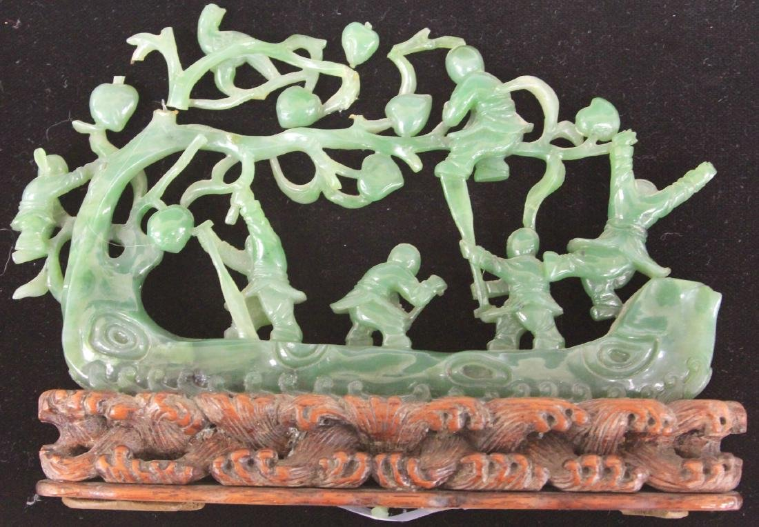 CHINESE JADE CARVING OF BOYS WITH TREE AND BOAT - 2