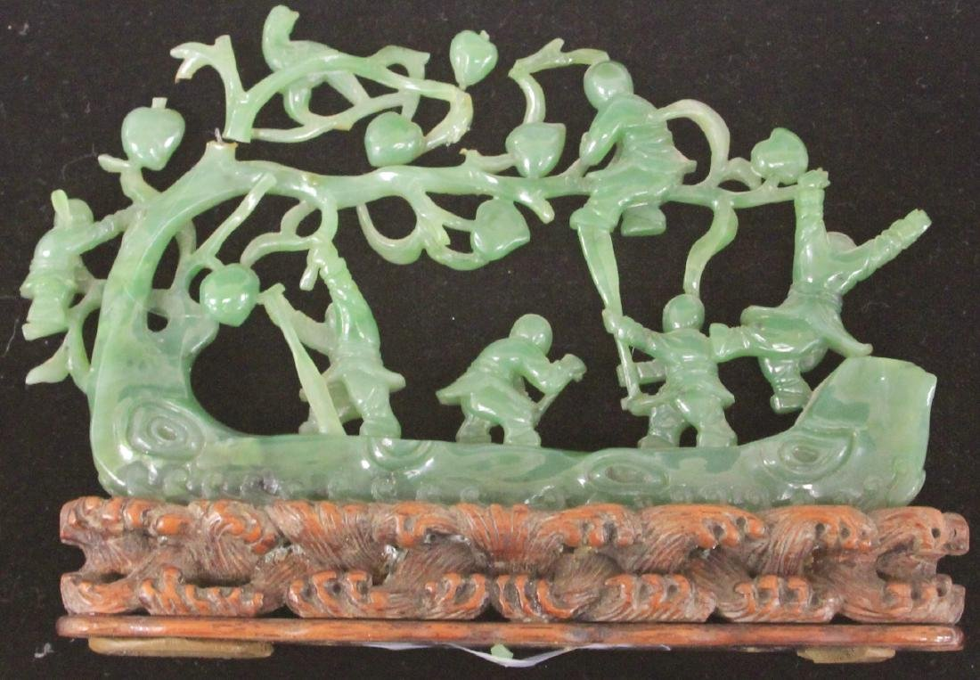 CHINESE JADE CARVING OF BOYS WITH TREE AND BOAT - 3