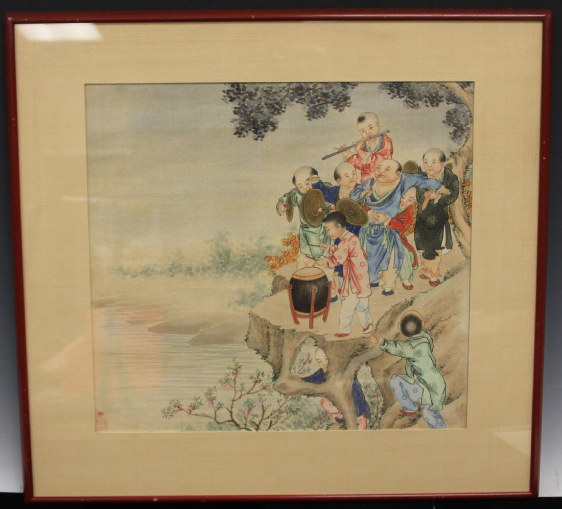 VINTAGE CHINESE WATERCOLOR OF BOYS PLAYING