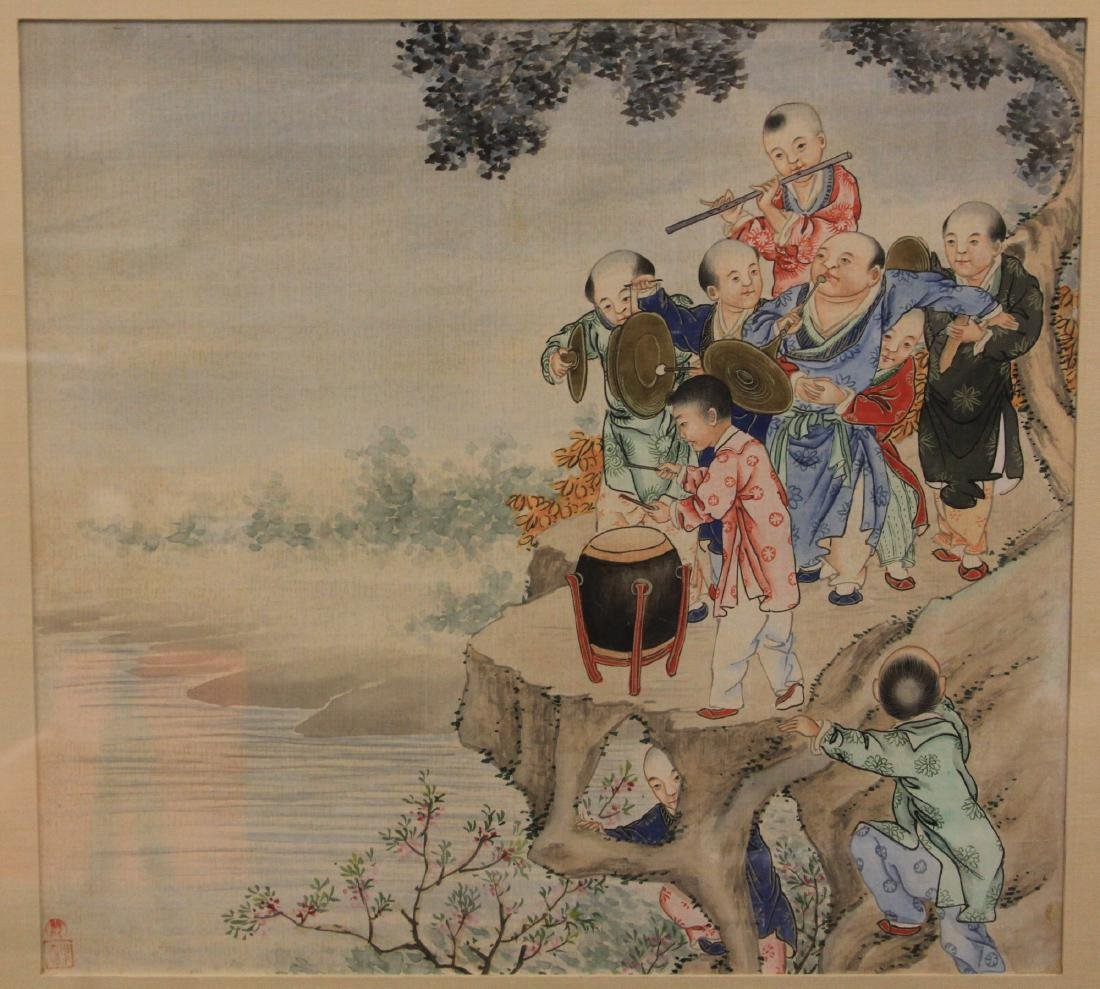 VINTAGE CHINESE WATERCOLOR OF BOYS PLAYING - 2
