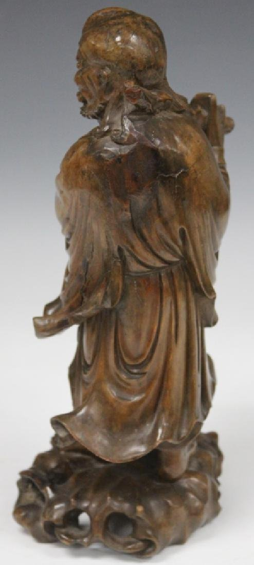 CHINESE CARVED LOHAN FIGURE WITH STAFF - 2