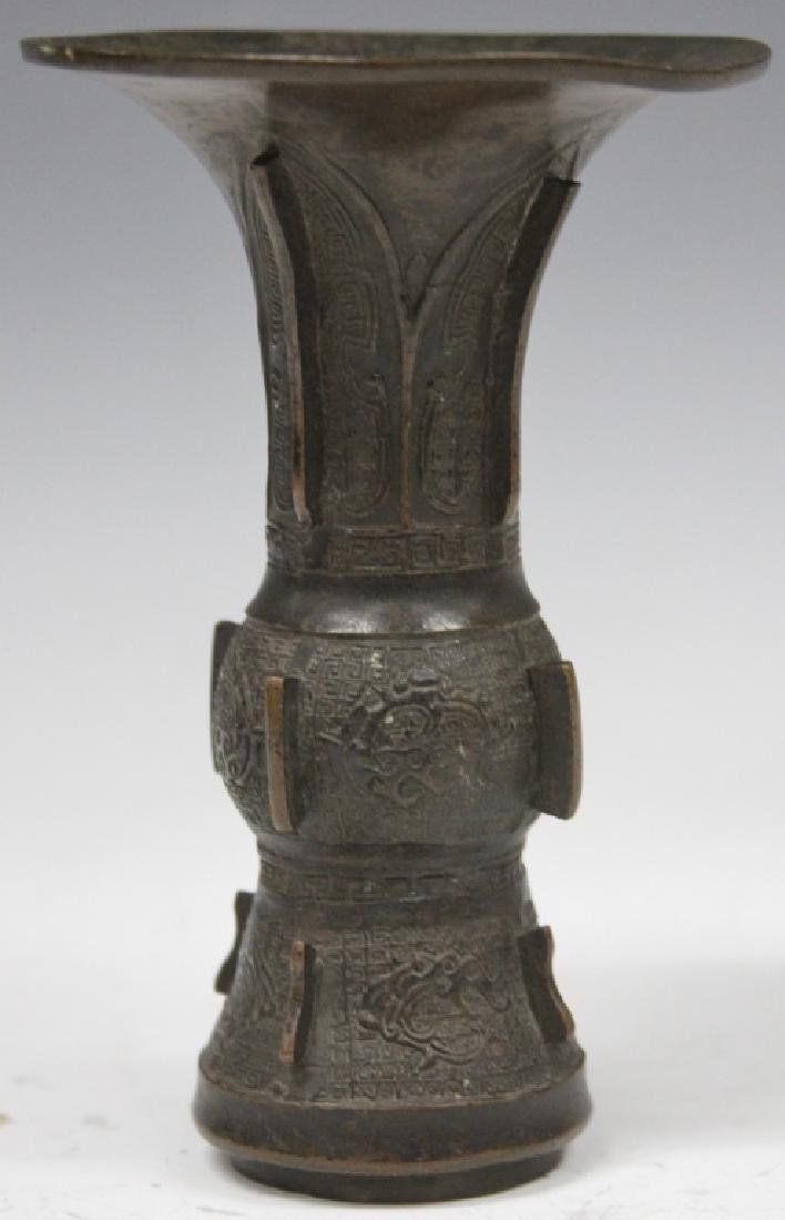 "CHINESE ARCHAIC BRONZE TEMPLE VASE, 6"" H"