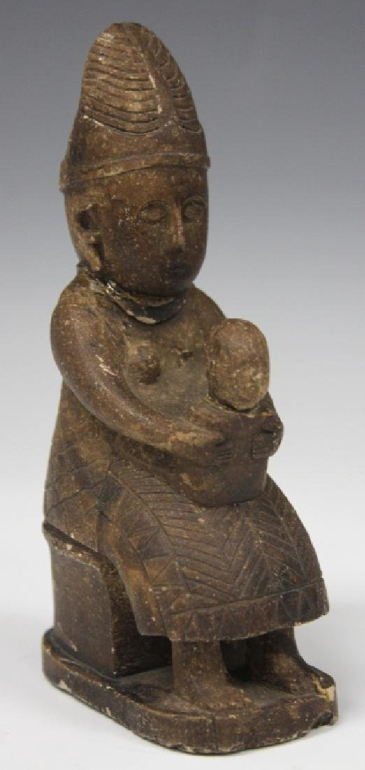 EARLY CHINESE CARVED STONE MOTHER AND CHILD