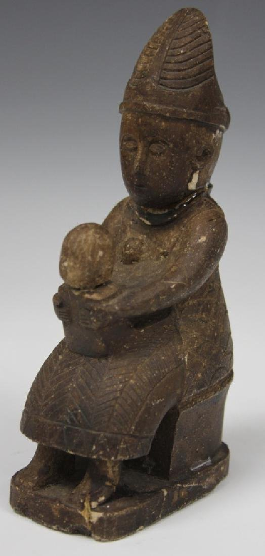 EARLY CHINESE CARVED STONE MOTHER AND CHILD - 2
