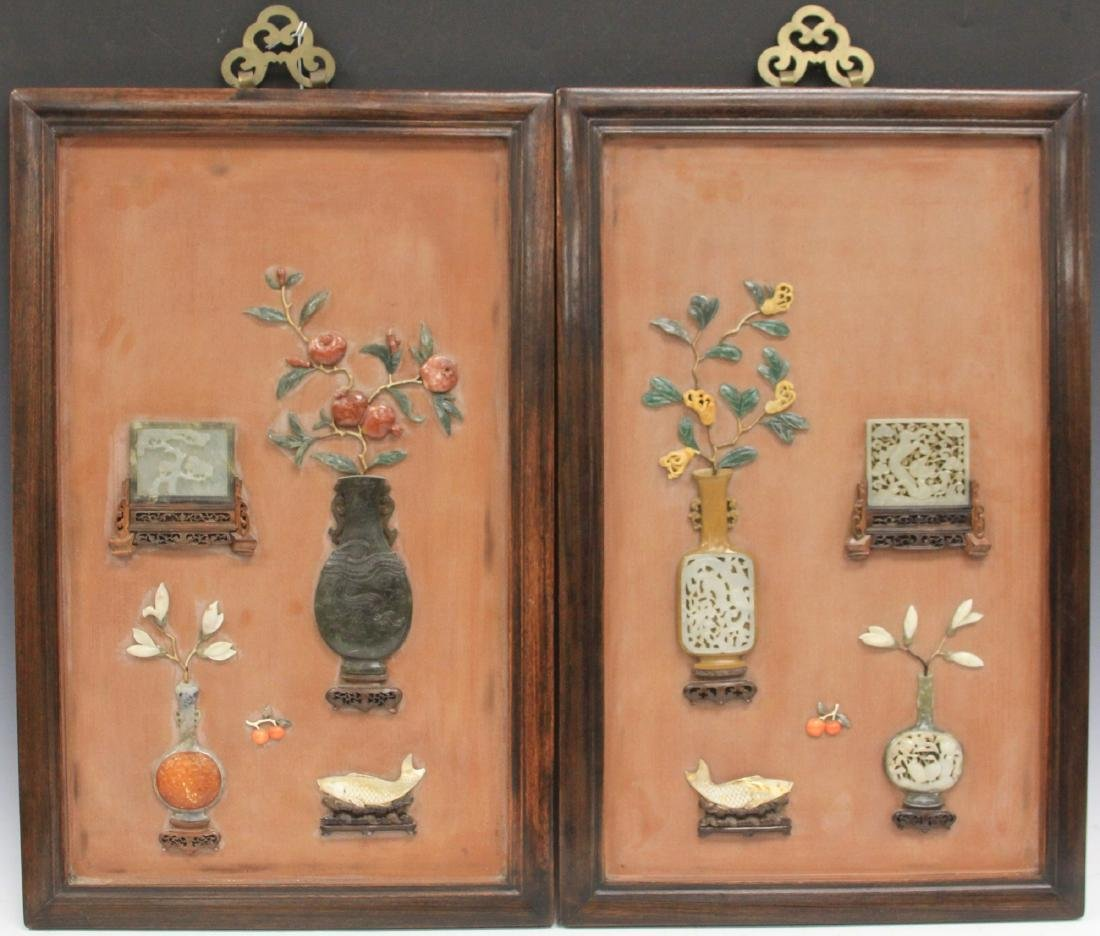 PAIR OF CHINESE JADE WALL PLAQUES, 18TH/19TH C.
