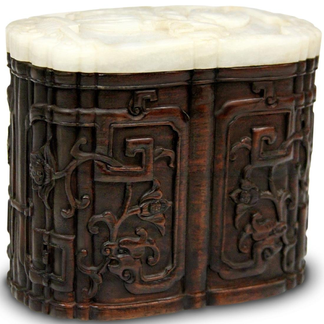 QING DYNASTY CARVED BOX WITH JADE TOP