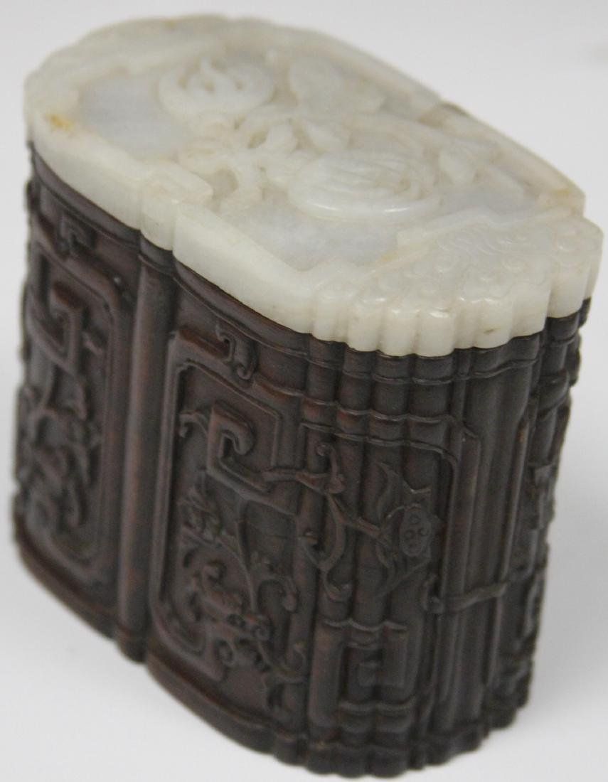 QING DYNASTY CARVED BOX WITH JADE TOP - 3
