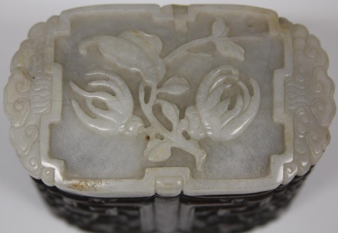 QING DYNASTY CARVED BOX WITH JADE TOP - 4