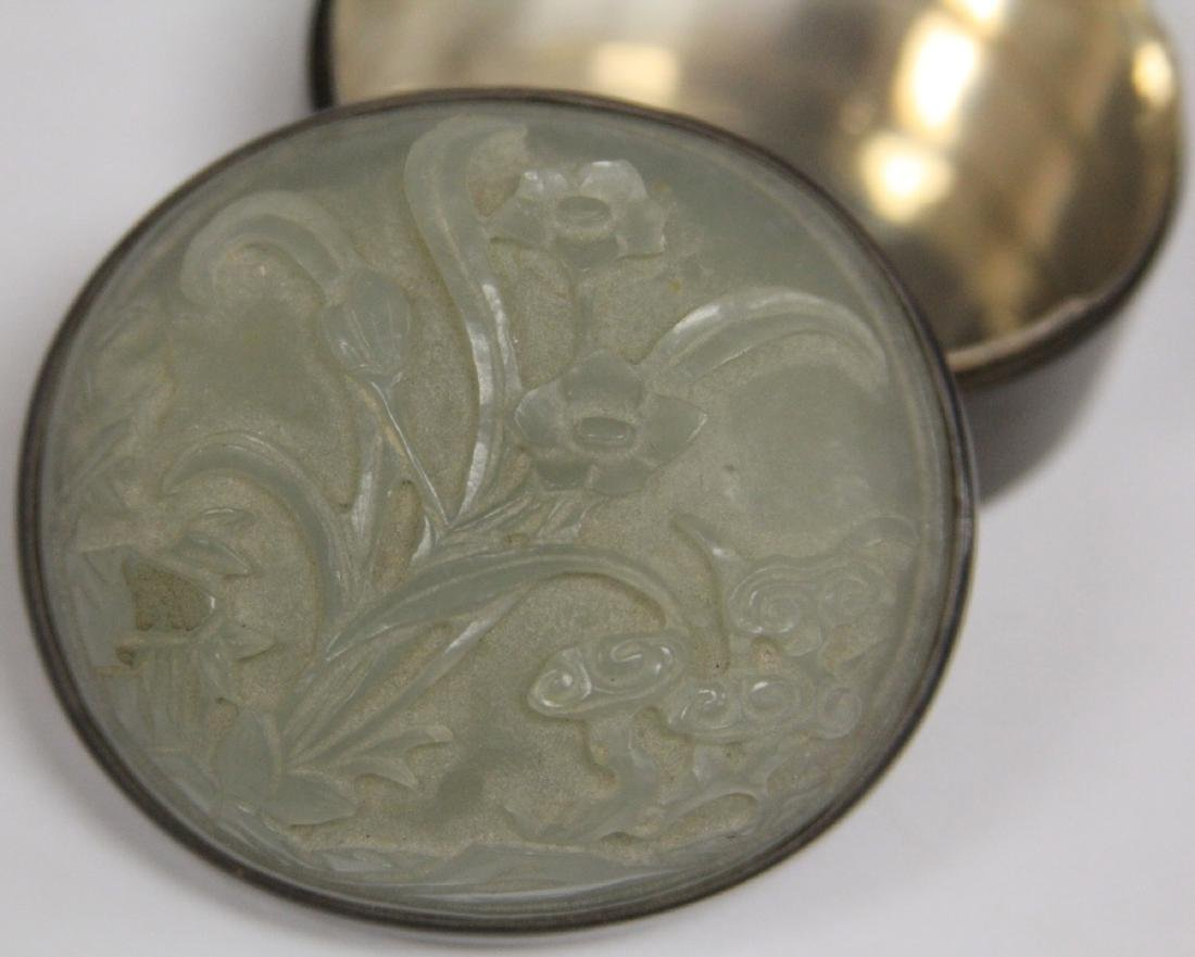 QING DYNASTY CARVED JADE AND SILVER BOX - 3