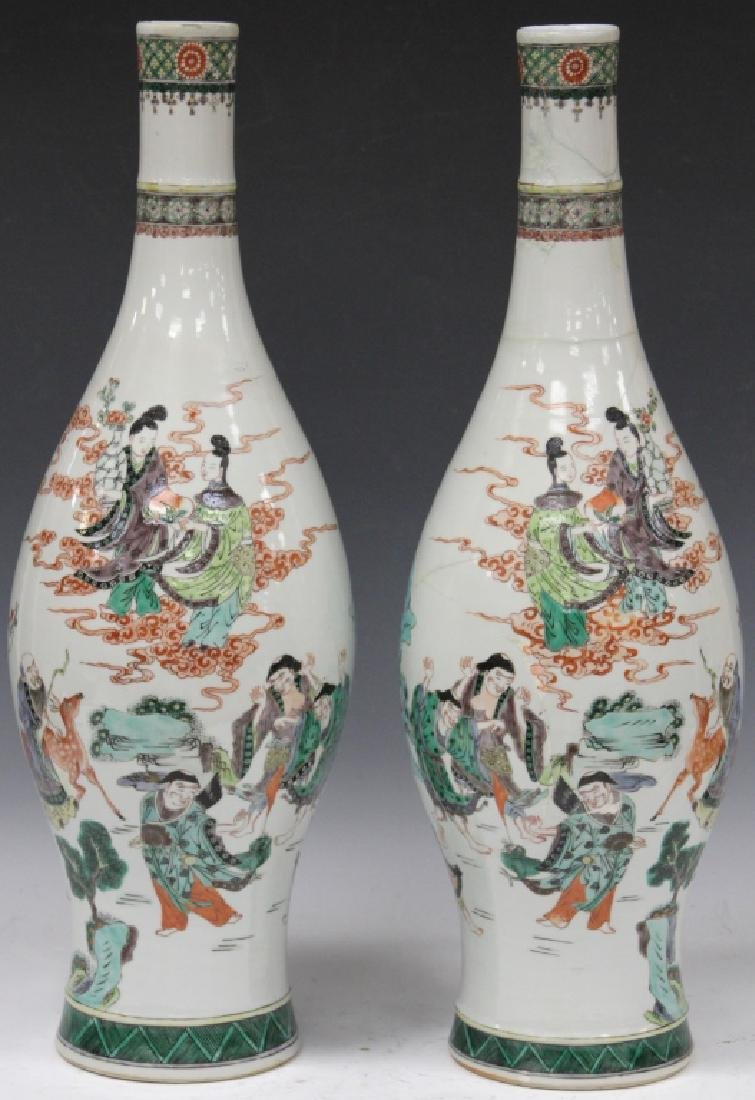 "PAIR OF QING DYNASTY PORCELAIN VASES, 24"" H"