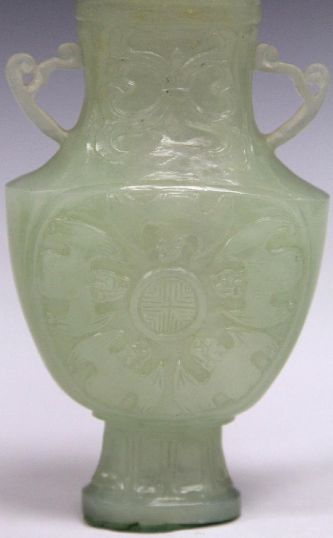 CHINESE CARVED JADE VASE WITH BAT MOTIF - 4