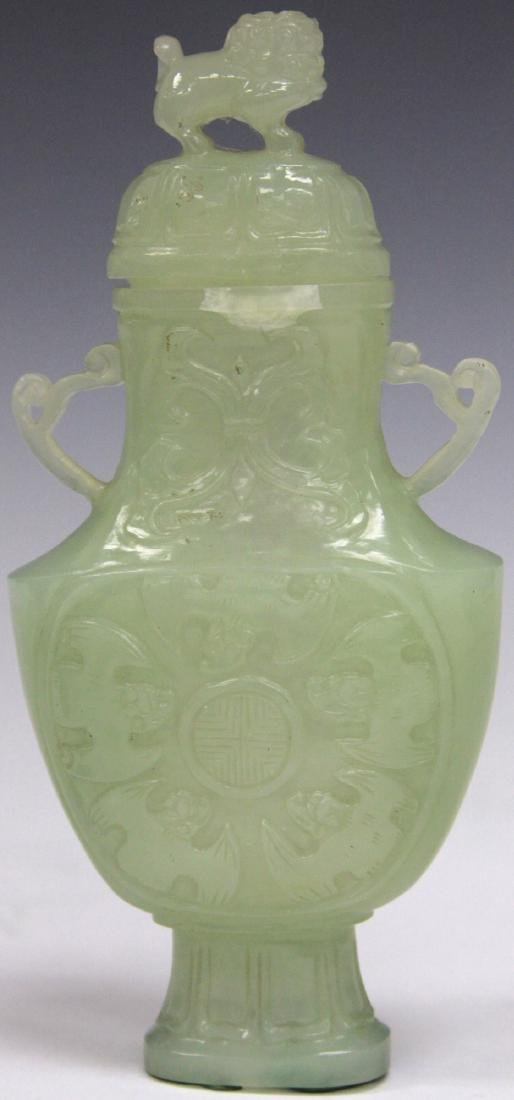 CHINESE CARVED JADE VASE WITH BAT MOTIF - 6