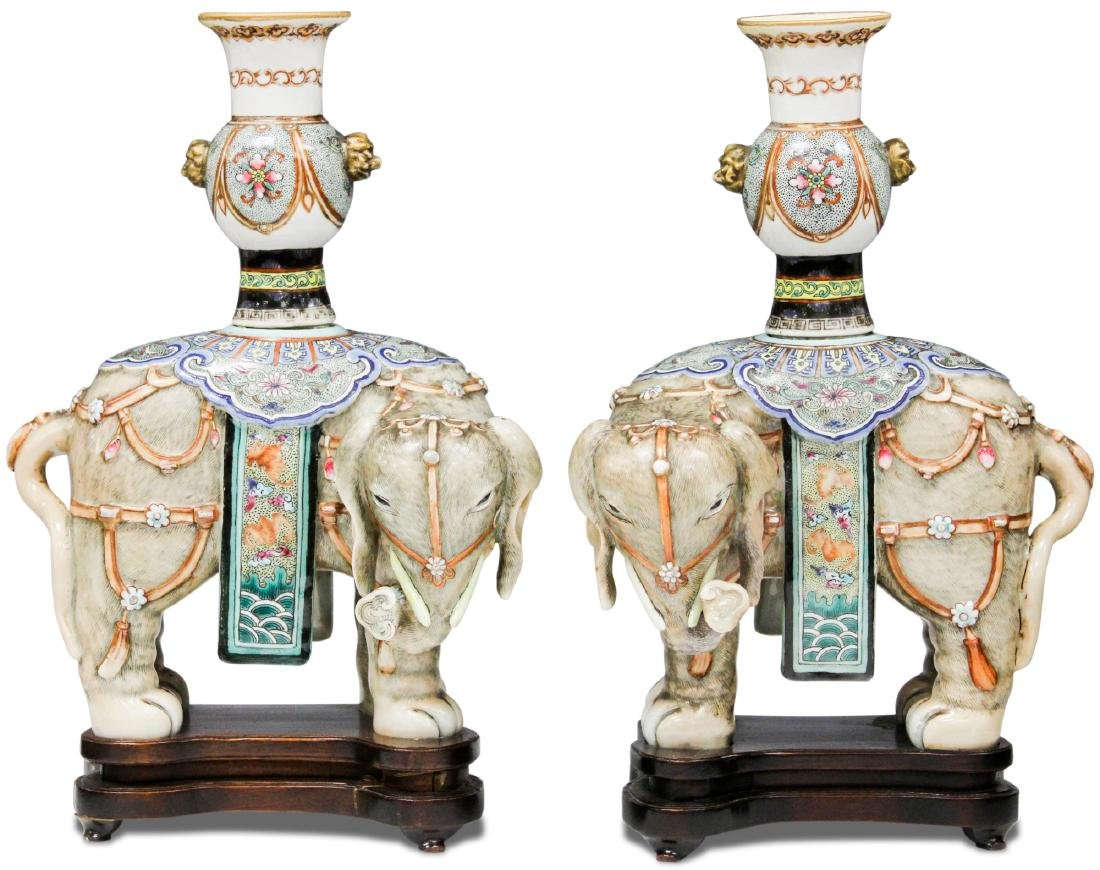 PAIR OF QING DYANSTY PORCELAIN ELEPHANTS