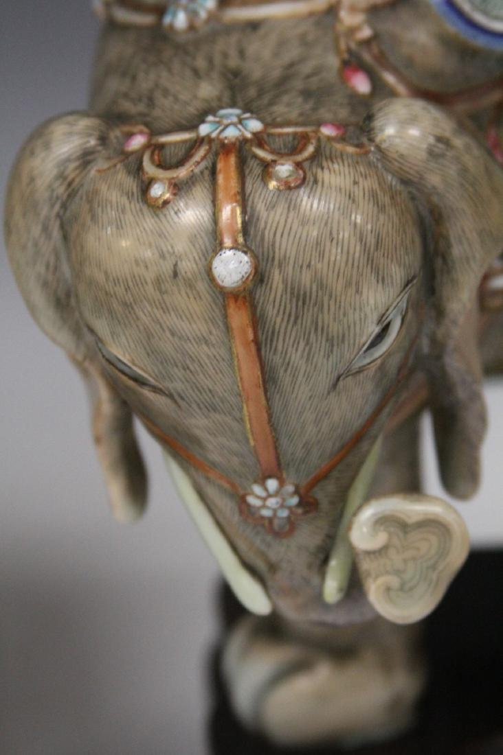PAIR OF QING DYANSTY PORCELAIN ELEPHANTS - 4