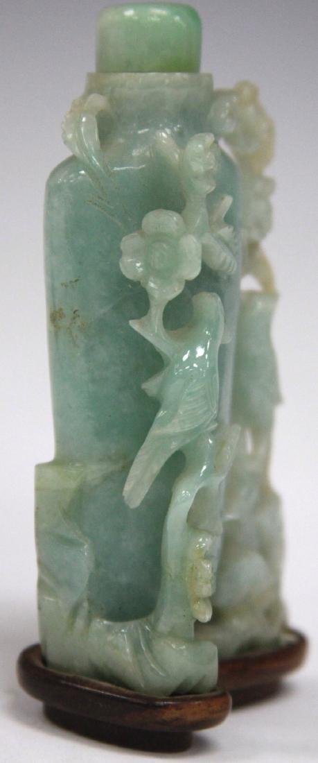 CHINESE CARVED JADE BOTTLE ON STAND - 4