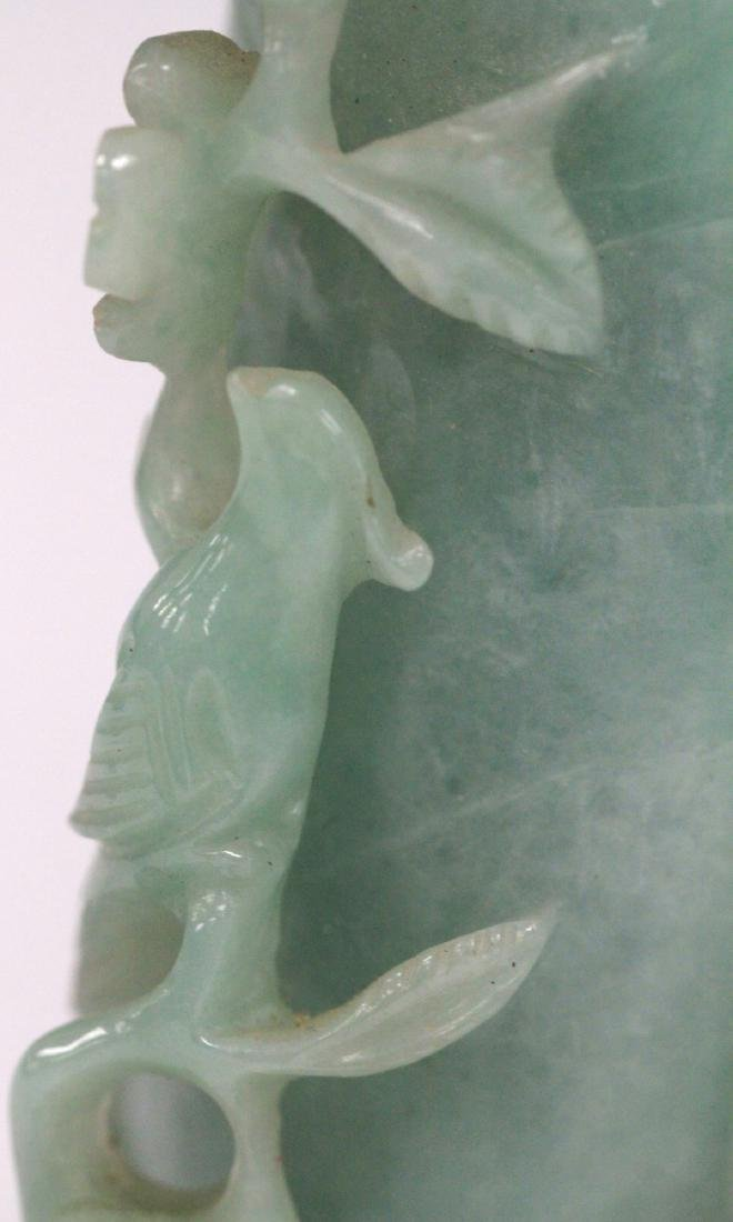 CHINESE CARVED JADE BOTTLE ON STAND - 8