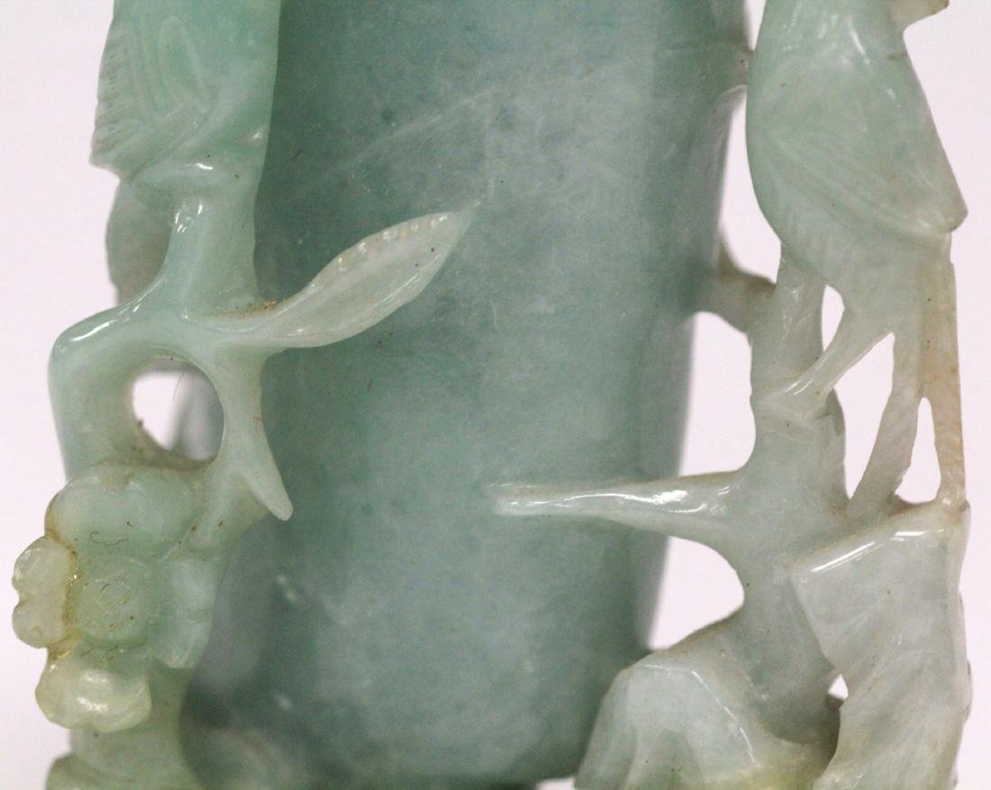 CHINESE CARVED JADE BOTTLE ON STAND - 9