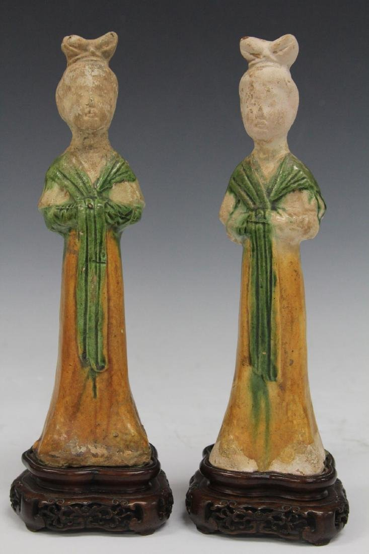PAIR OF TANG DYNASTY FIGURES W/ STANDS