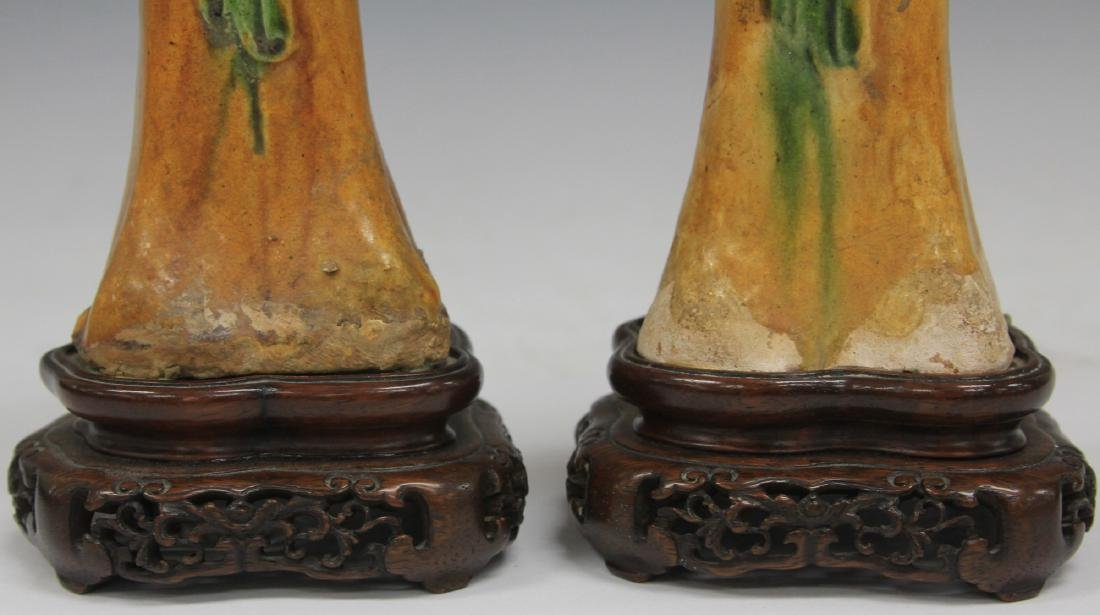 PAIR OF TANG DYNASTY FIGURES W/ STANDS - 4