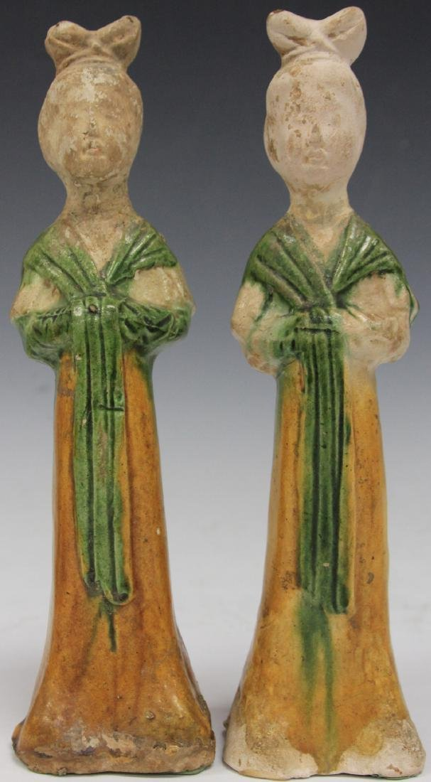 PAIR OF TANG DYNASTY FIGURES W/ STANDS - 5