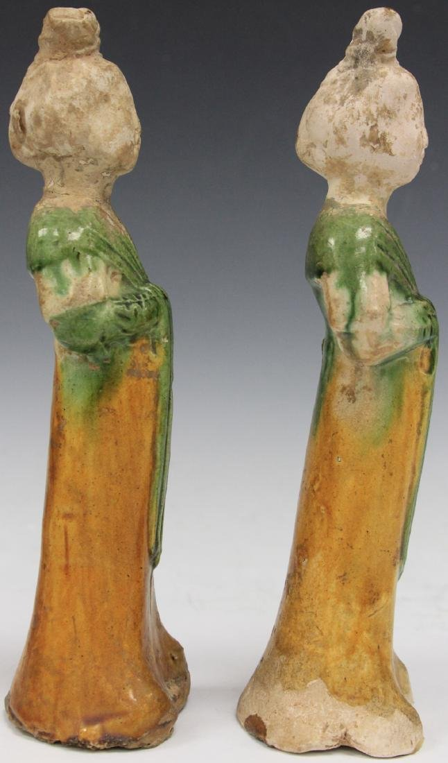 PAIR OF TANG DYNASTY FIGURES W/ STANDS - 8