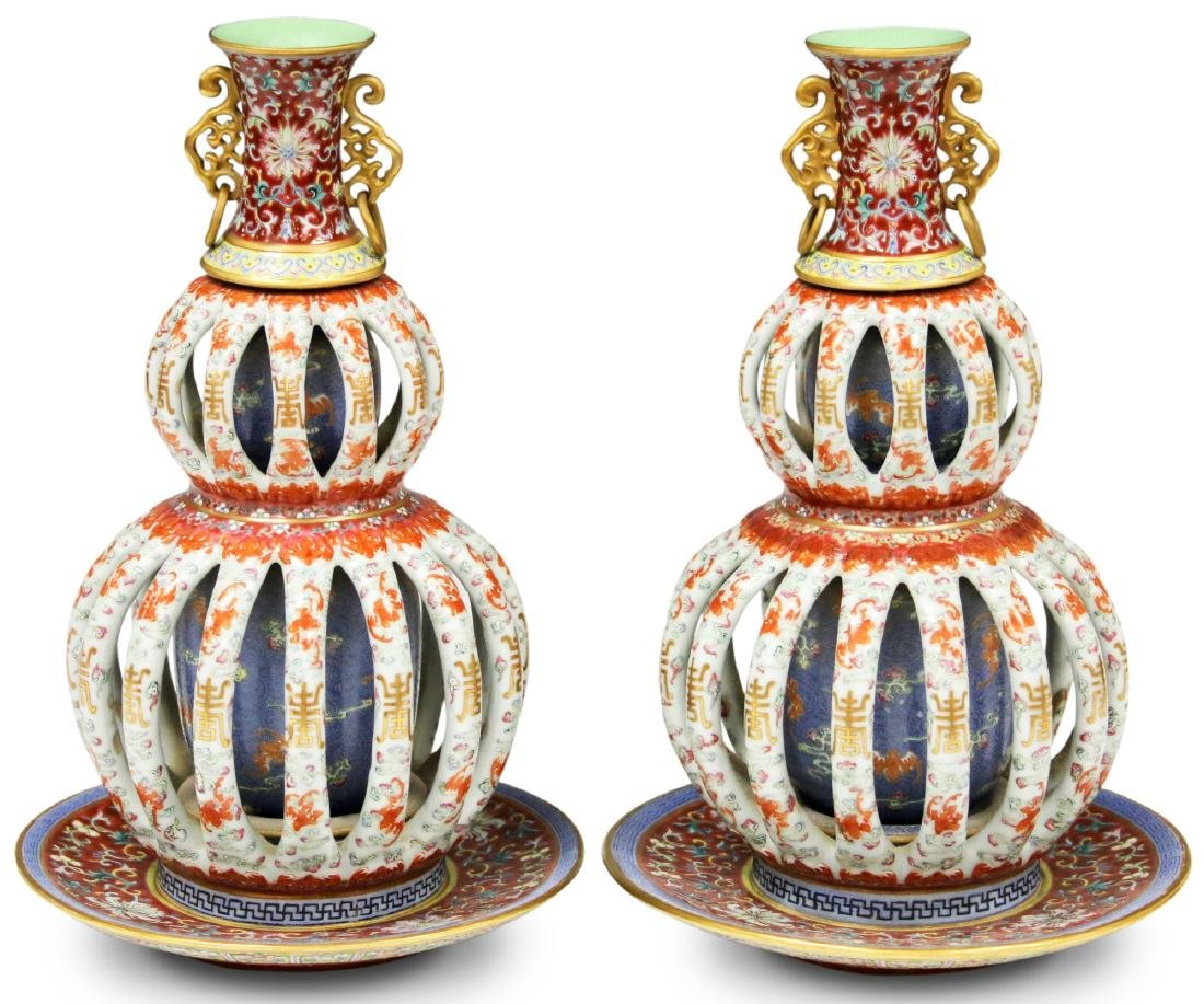 PAIR OF EARLY ROTATING PORCELAIN VASES JIAQING MARK