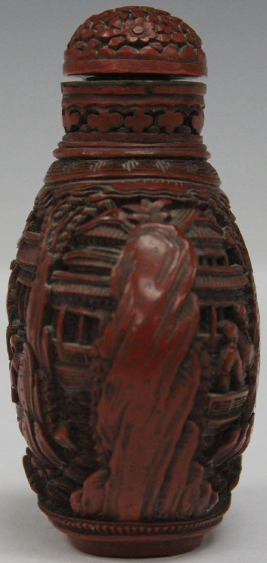 QING DYNASTY CARVED CINNABAR SNUFF BOTTLE - 3