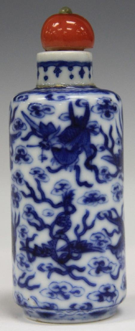 CHINESE BLUE & WHITE PORCLEAIN SNUFF BOTTLE - 2