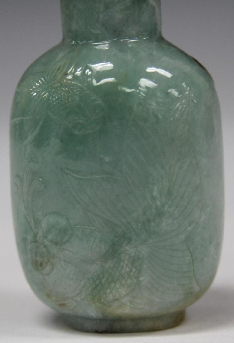 CHINESE CARVED JADE SNUFF BOTTLE - 5