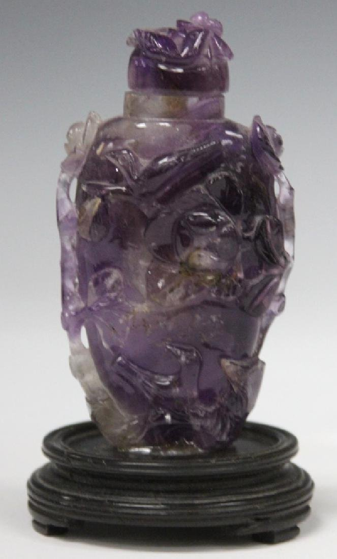 CHINESE CARVED AMETHYST SNUFF BOTTLE - 2