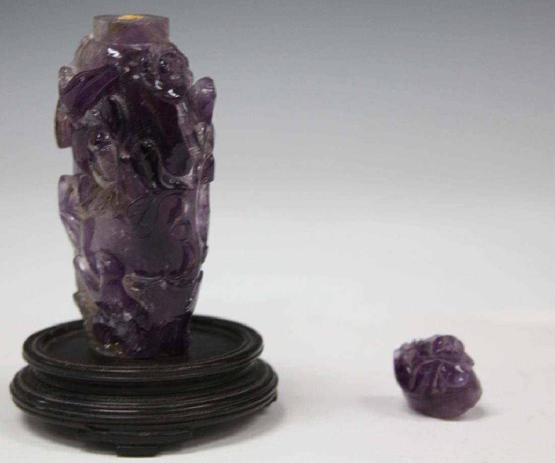 CHINESE CARVED AMETHYST SNUFF BOTTLE - 3