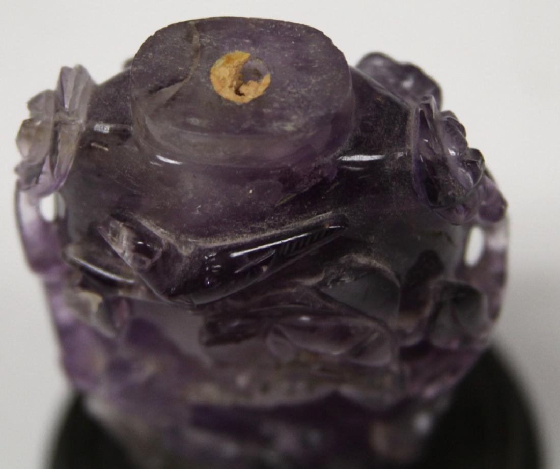 CHINESE CARVED AMETHYST SNUFF BOTTLE - 5